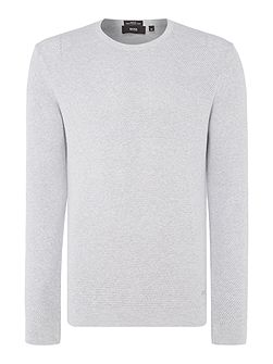 Odam slim fit textured knit crew neck jumper