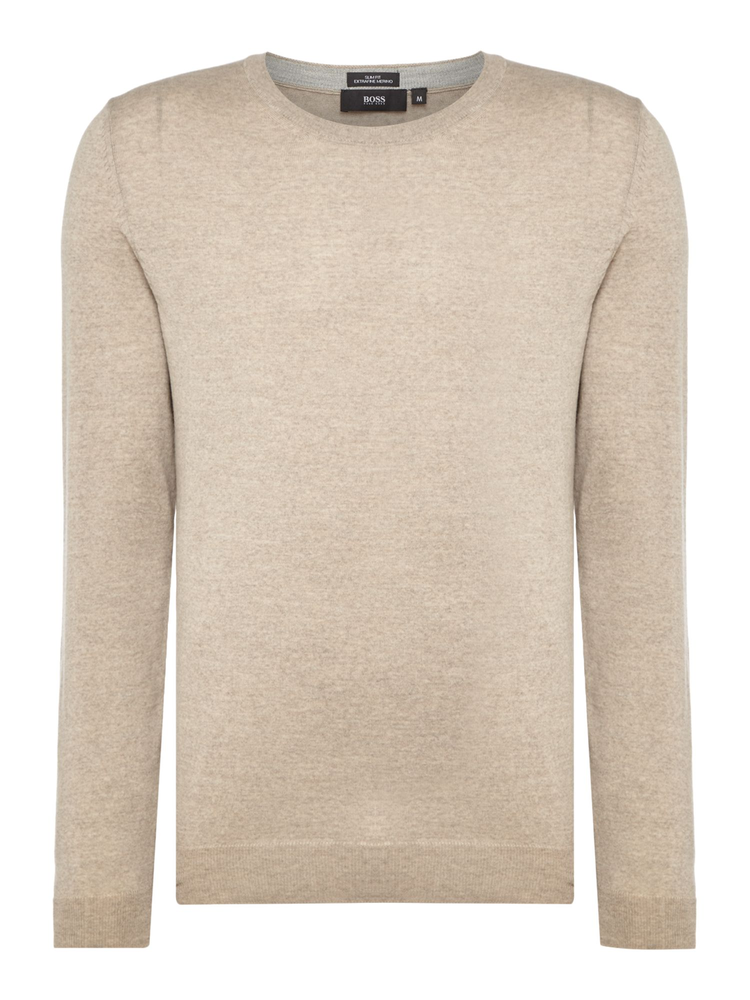 Mens Hugo Boss LenoO crew neck merino jumper Taupe