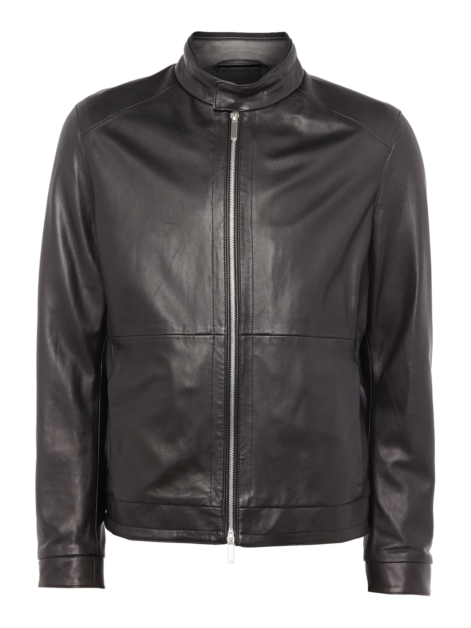 Mens Hugo Boss Nartimo lambskin leather biker jacket Black