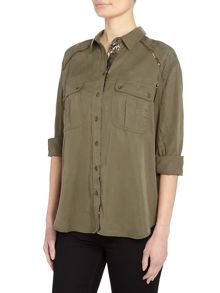 Free People Off Campus buttondown 3/4sleeves top in moss