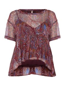 Free People Say you will short sleeve top in plum