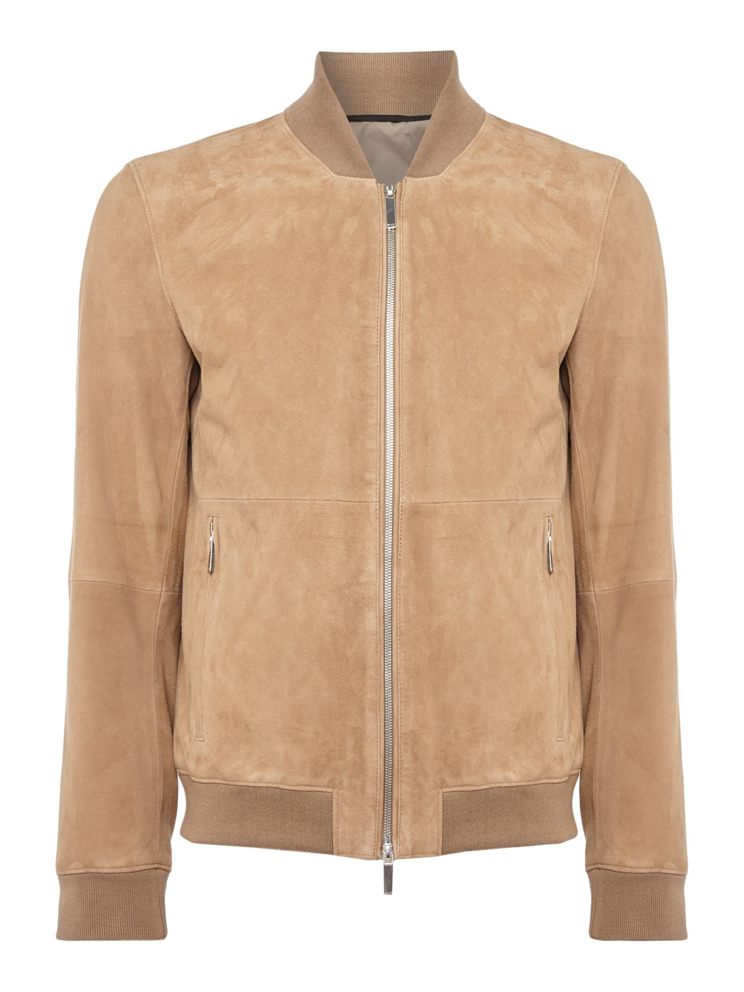 Mens Hugo Boss Alfondo suede leather bomber jacket Camel