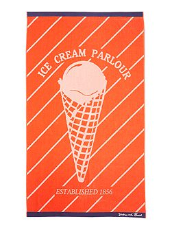 Ice cream parlour beach towel