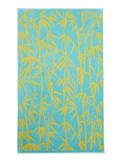 Parrot and bamboo beach towel