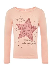 name it Girls Coral Sequim Star Long Sleeve T-Shirt