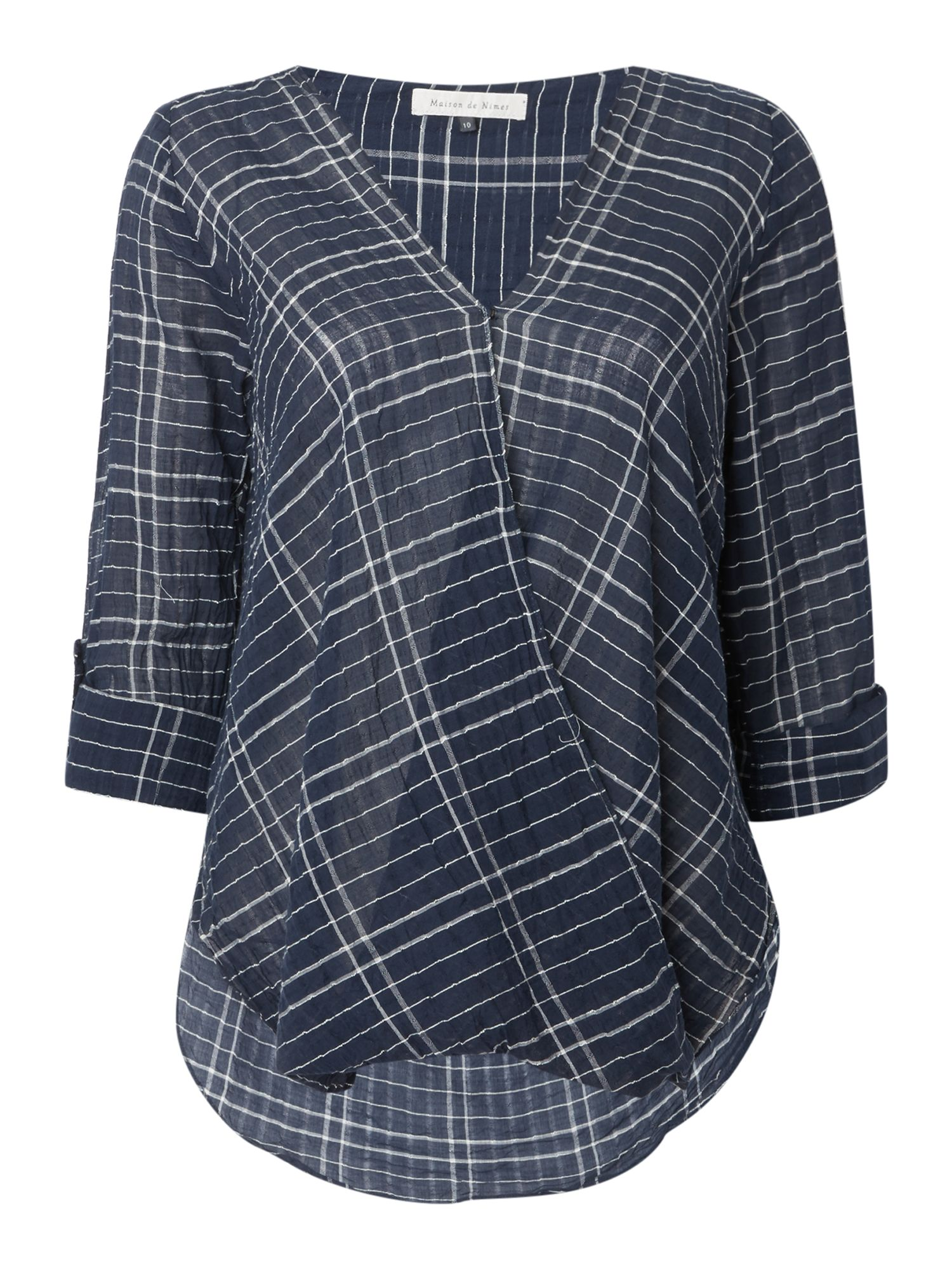 Maison De Nimes Check Wrap Blouse, Blue