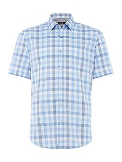 Luka 5 short-sleeve gingham checked marl shirt