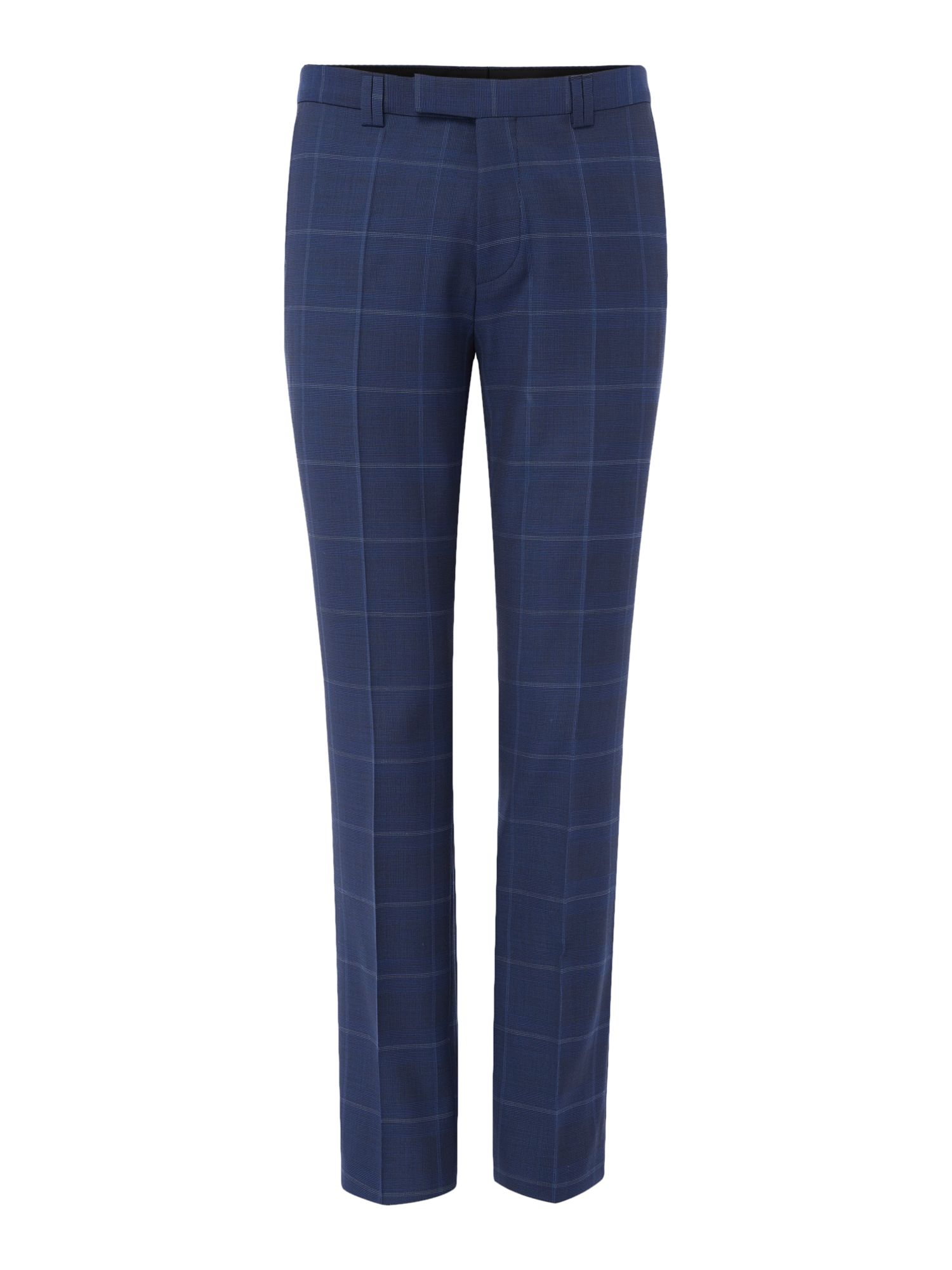 HUGO Men's Hugo Helum Windowpane Check Suit Trousers, Navy