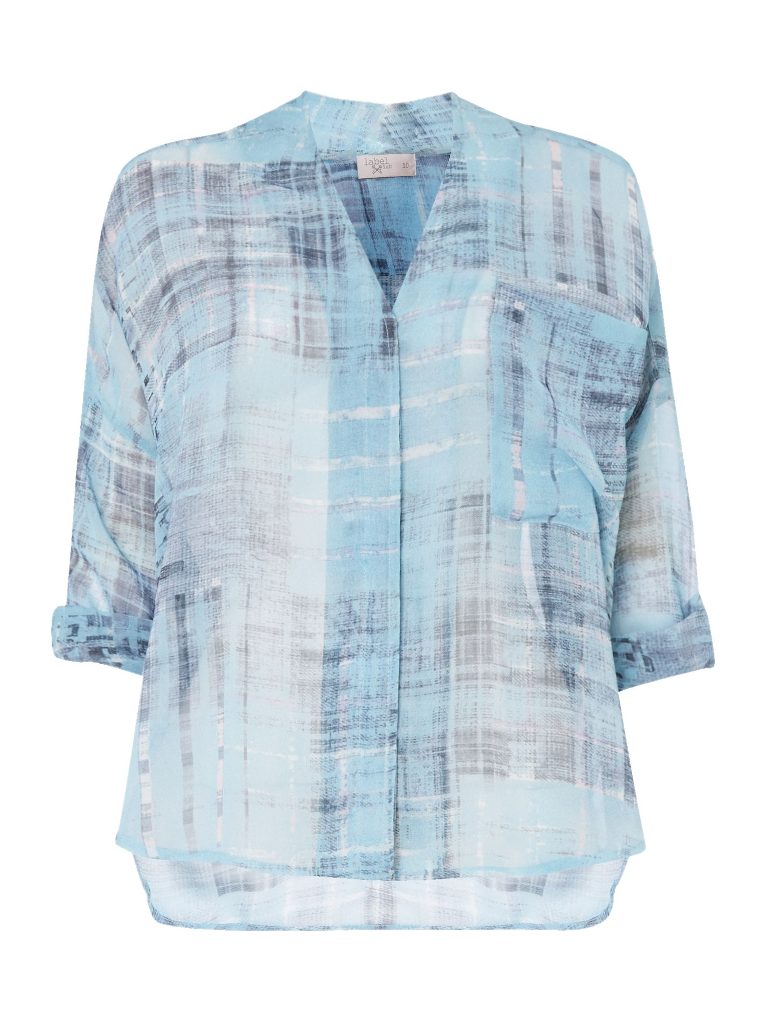 Label Lab Distressed printed check top, Multi-Coloured