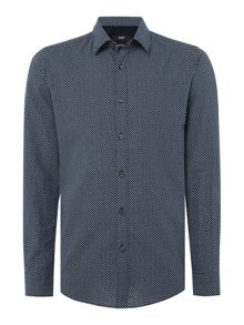 Hugo Boss Lukas 44 long-sleeve dot linen mix shirt