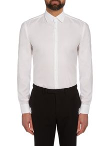 Hugo Jimmy Slim Pin Point Contrast Trim Cotton Shirt