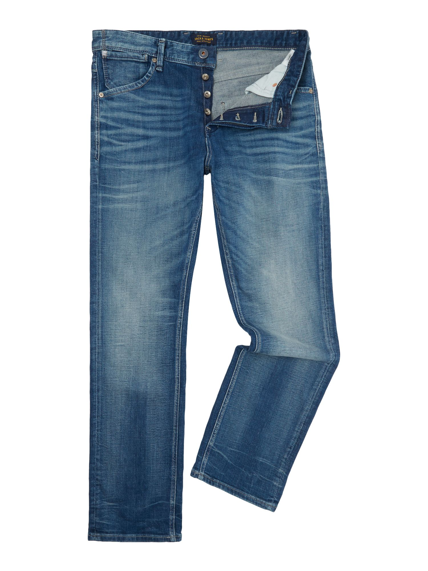 Mens Boxy Loose-fit Jeans, Denim Mid Wash