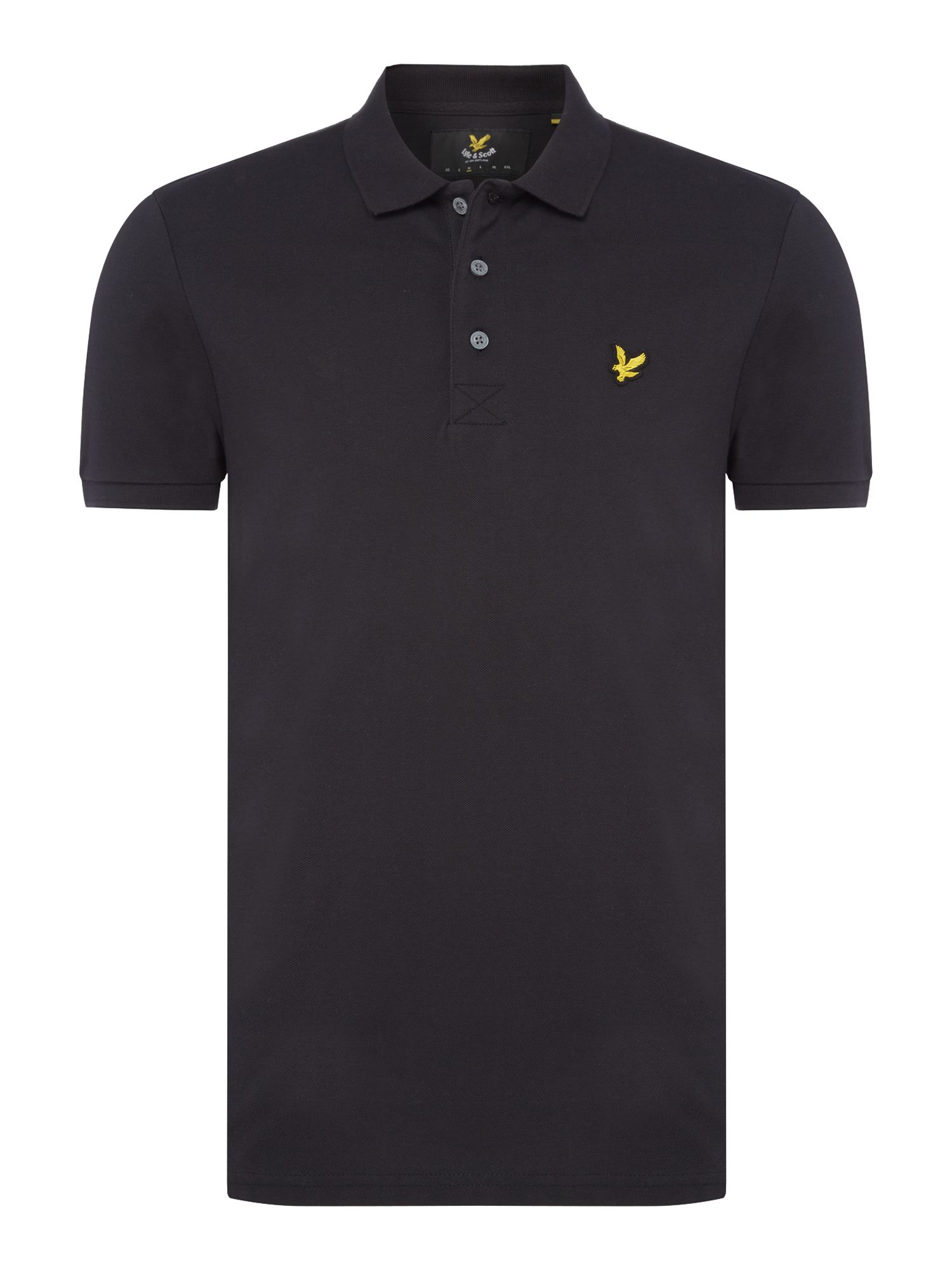 Men's Lyle and Scott Short Sleeve Plain Pique Polo, Black
