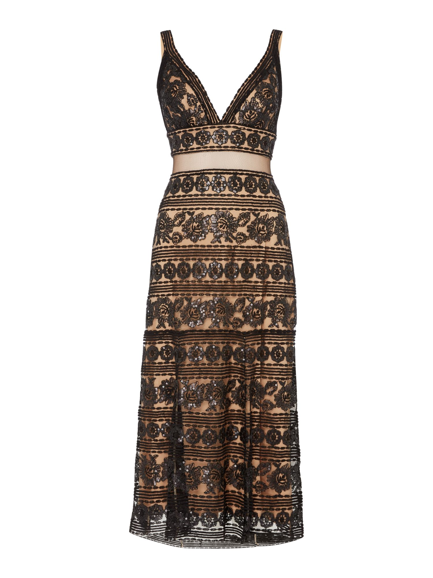 Tadashi Shoji Sleeveless bonded lace and beaded dress, Black
