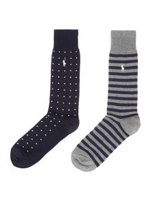 Polo Ralph Lauren 2 Pack Dot and Stripe Sock