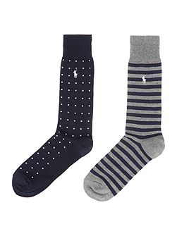 2 Pack Dot and Stripe Sock