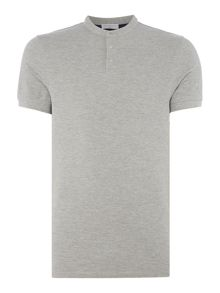 Selected Homme Small-Logo Button-Neck Cotton T-shirt