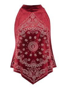 Free People Embroidered bandana bling sleeveless top