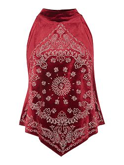 Embroidered bandana bling sleeveless top