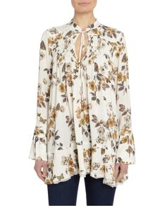 Free People Pebble Crepe Printed Tunic in ivory combo