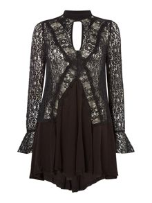 Free People New Tell Tale lace long sleeve tunic top