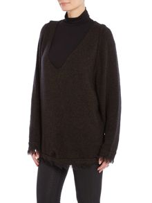 Free People Irrestible v neck jumper in black