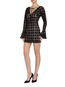 Free People Back to Black long sleeve mini dress in black
