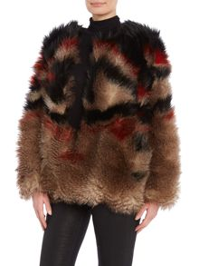 Free People Scarlet Faux Fur jacket in red combo
