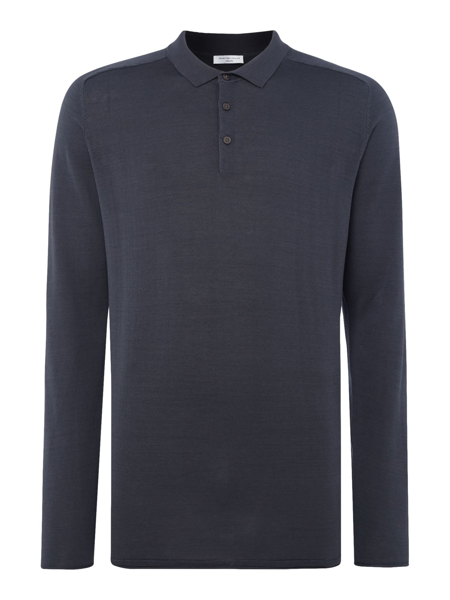Men's Selected Homme Knitted Long-Sleeve Cotton Polo-Shirt, Blue