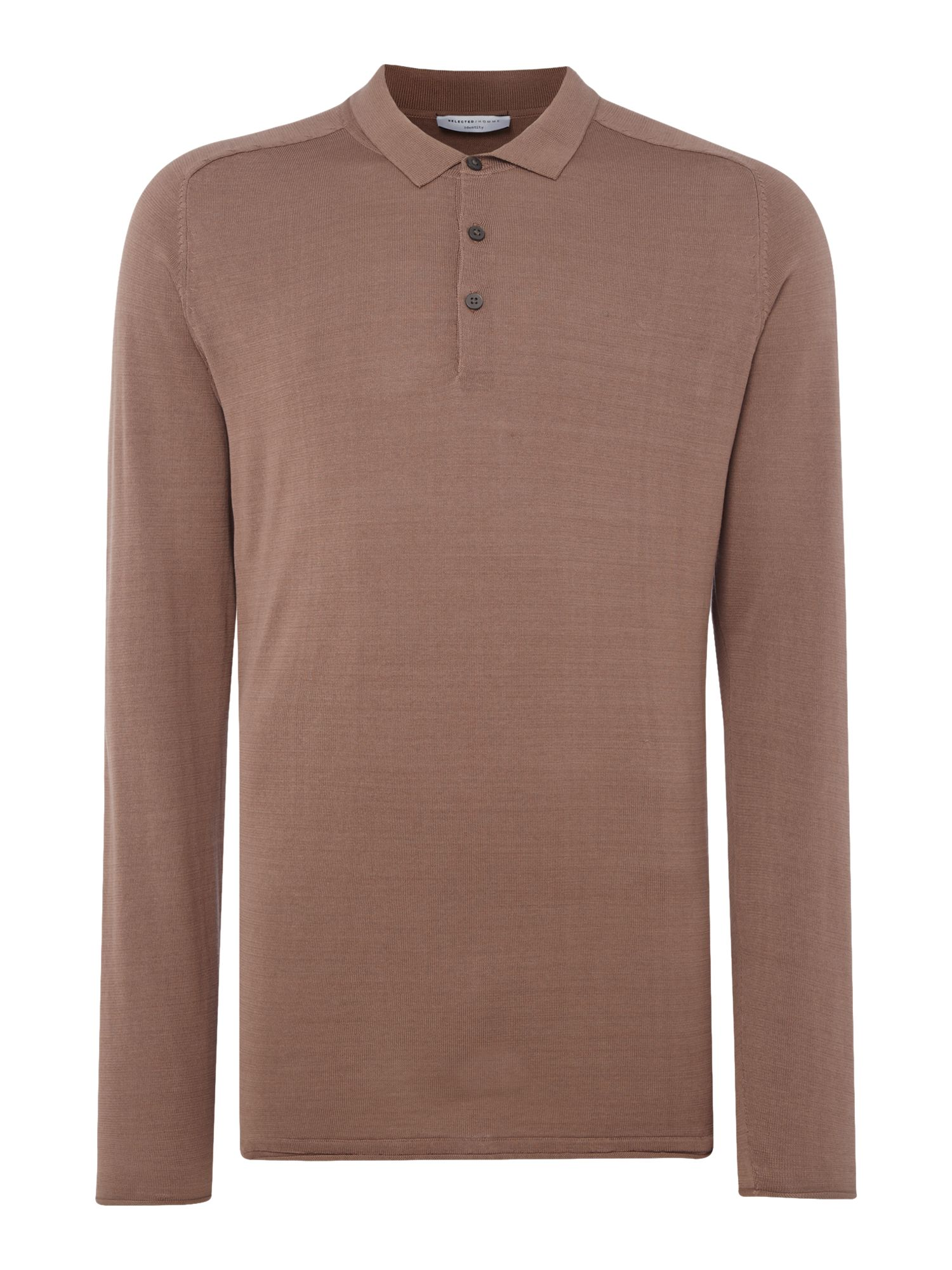 Men's Selected Homme Knitted Long-Sleeve Cotton Polo-Shirt, Salmon