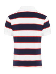 Lacoste Boys Block Stripe Jersey Short Sleeve Polo Shirt