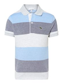 Lacoste Boys Pique Marl Block Stripe Short Sleeve Polo