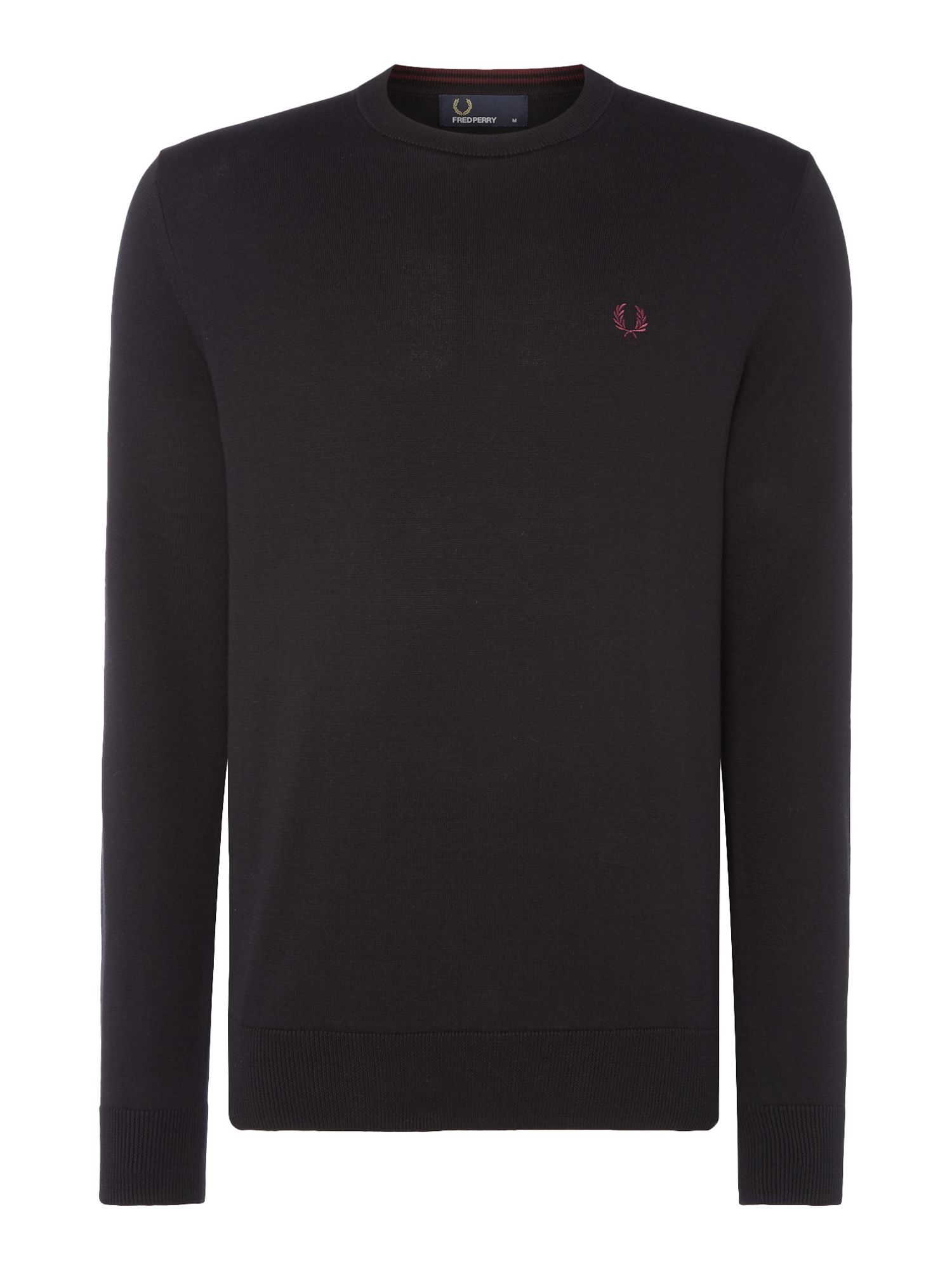 Mens Fred Perry Cotton crew neck jumper Black