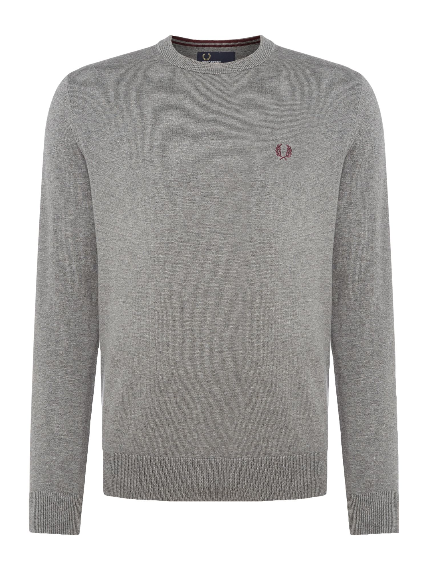 Mens Fred Perry Cotton crew neck jumper Grey Marl