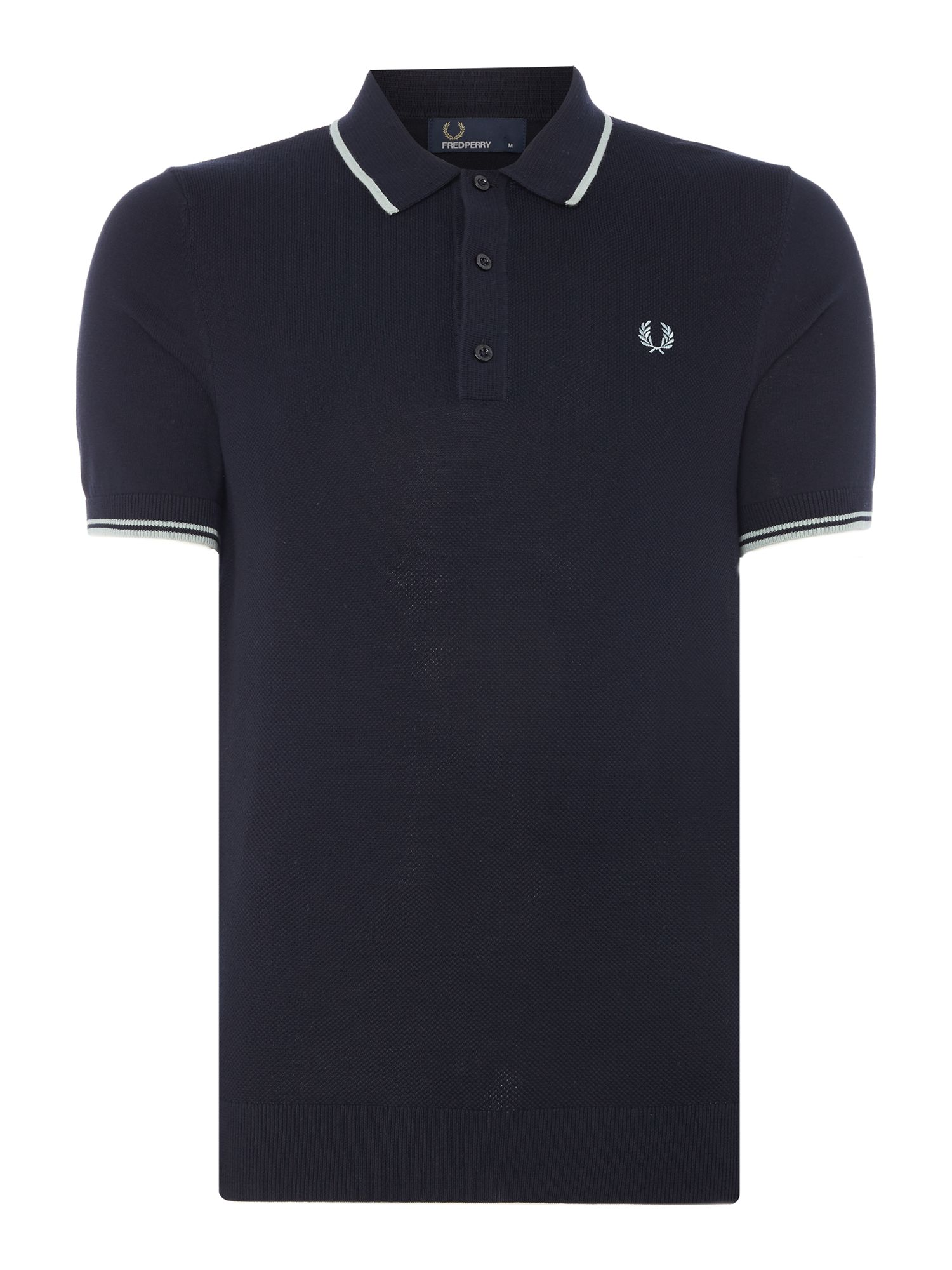 Mens Fred Perry Knitted polo shirt Navy