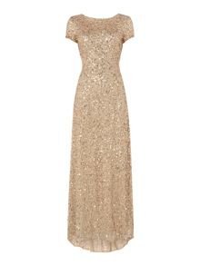 Adrianna Papell Petite short sleeved sequin gown