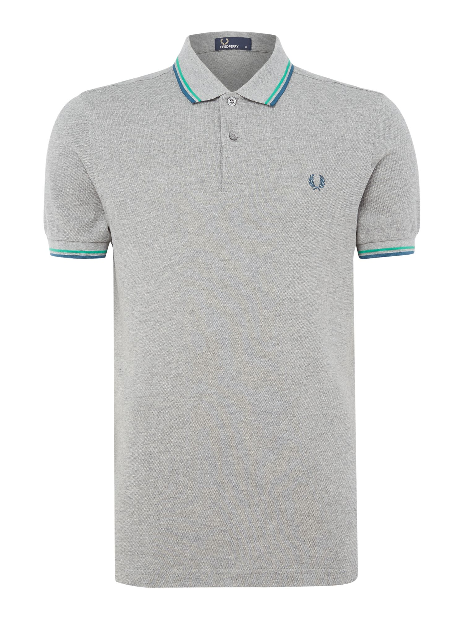 Mens Fred Perry Plain Twin Tipped Polo Shirt Grey