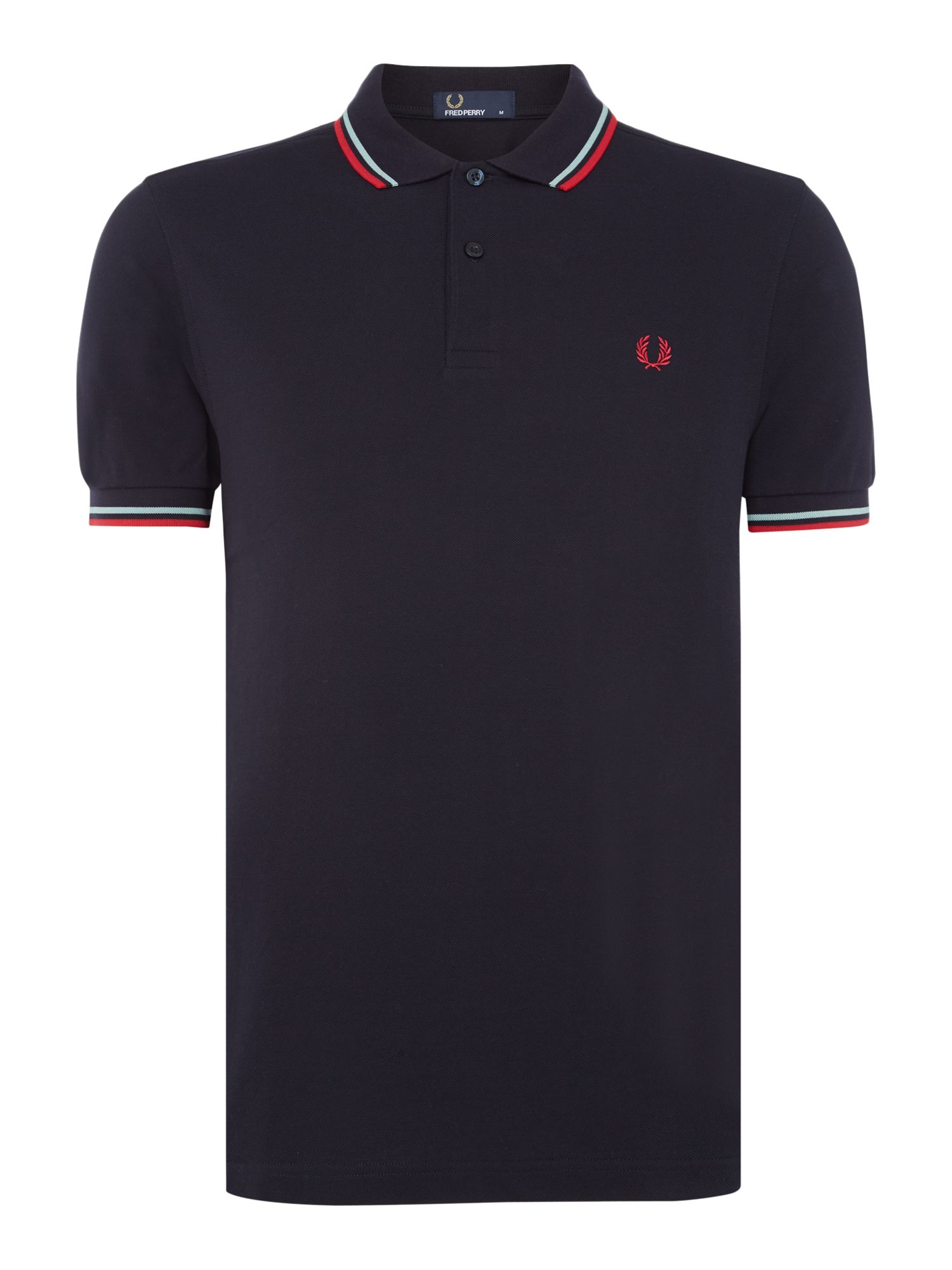 Mens Fred Perry Plain Twin Tipped Polo Shirt Navy