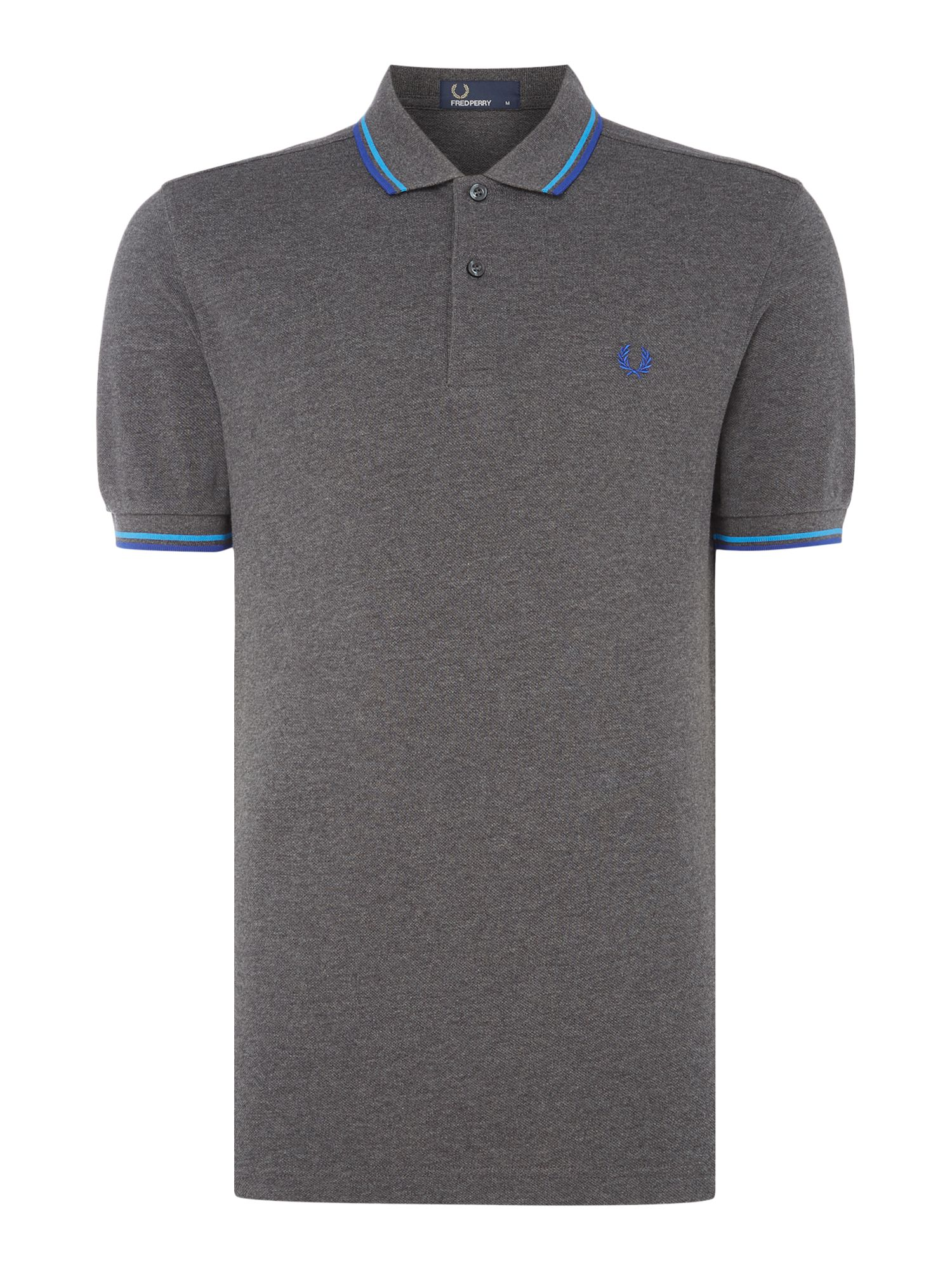 Men's Fred Perry Plain Twin Tipped Polo Shirt, Charcoal