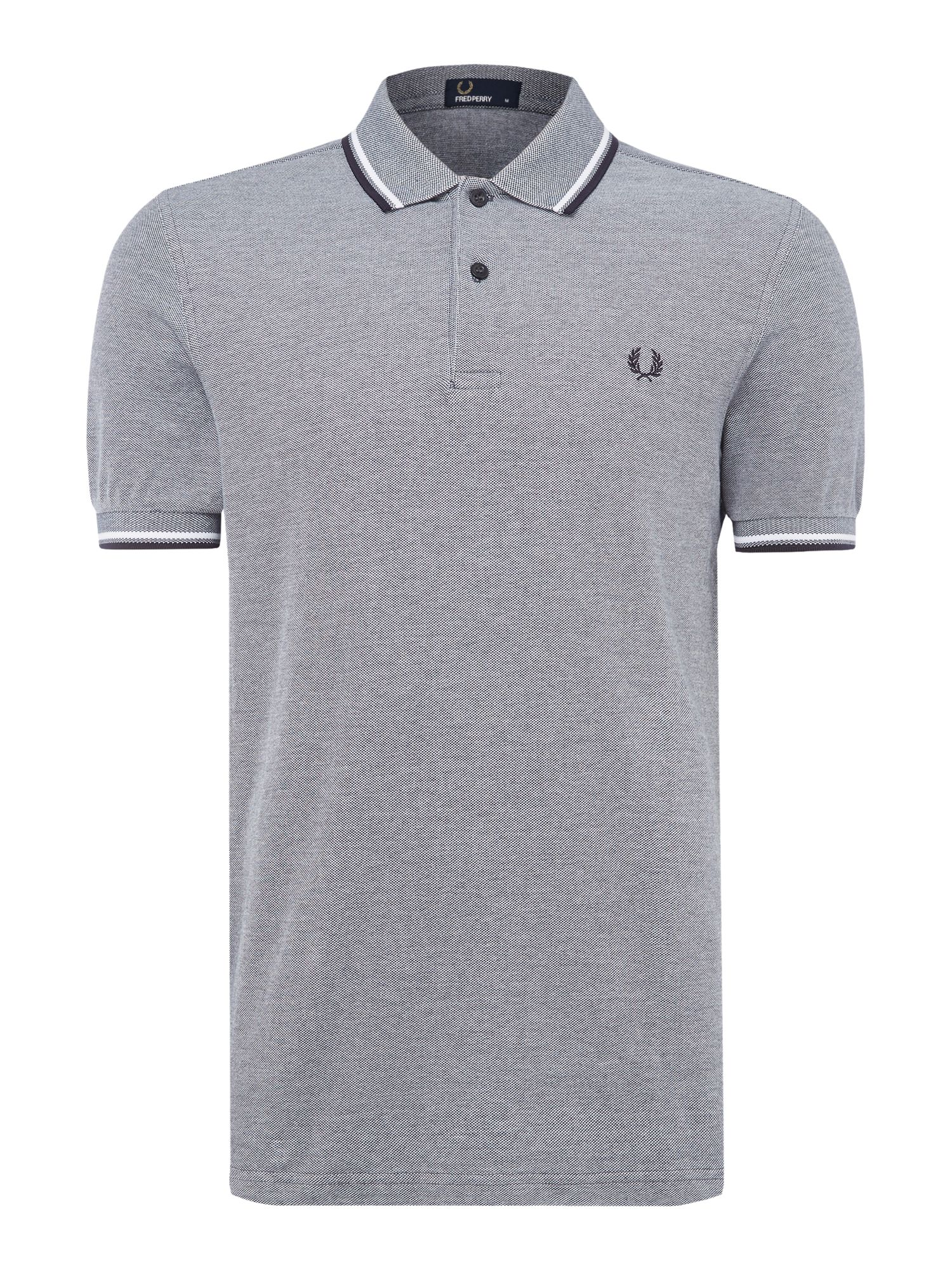 Mens Fred Perry Plain Twin Tipped Polo Shirt French Navy