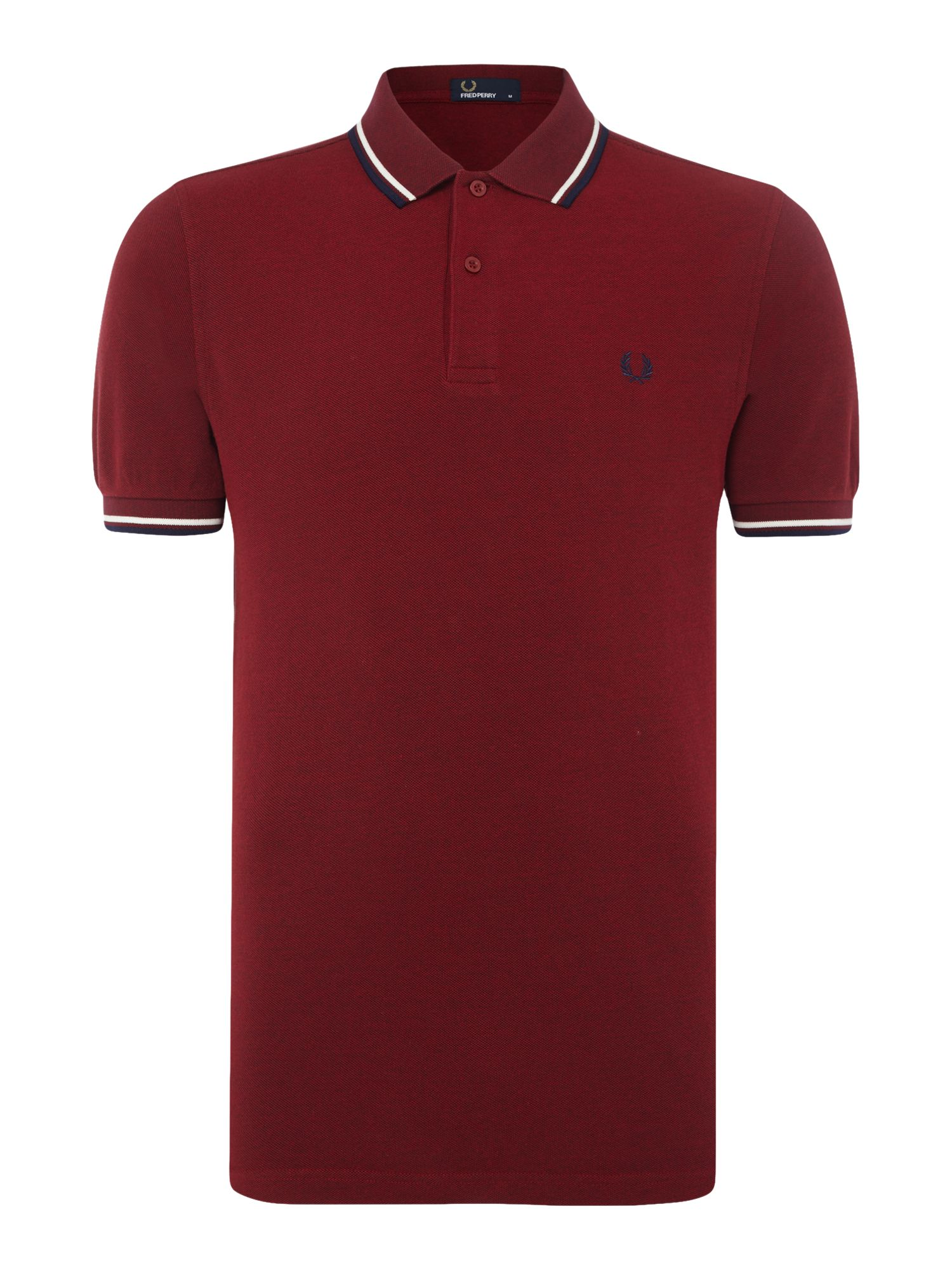 Mens Fred Perry Plain Twin Tipped Polo Shirt Maroon