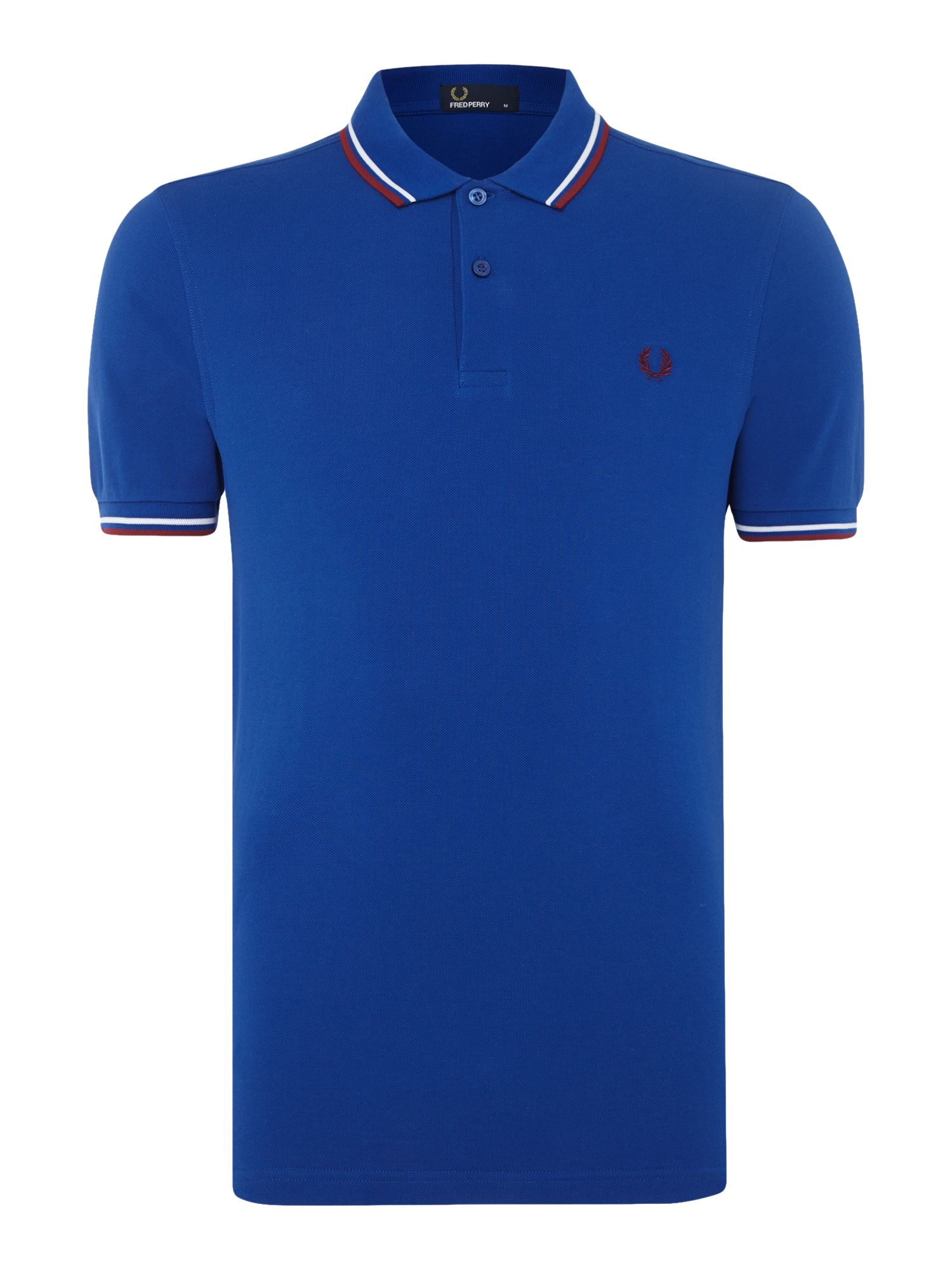 Mens Fred Perry Plain Twin Tipped Polo Shirt Cobalt