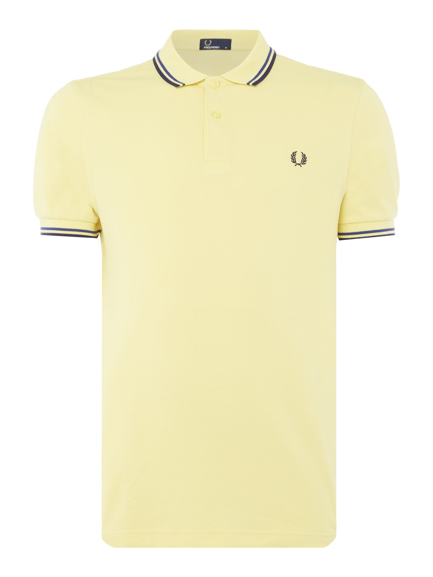 Mens Fred Perry Plain Twin Tipped Polo Shirt Yellow