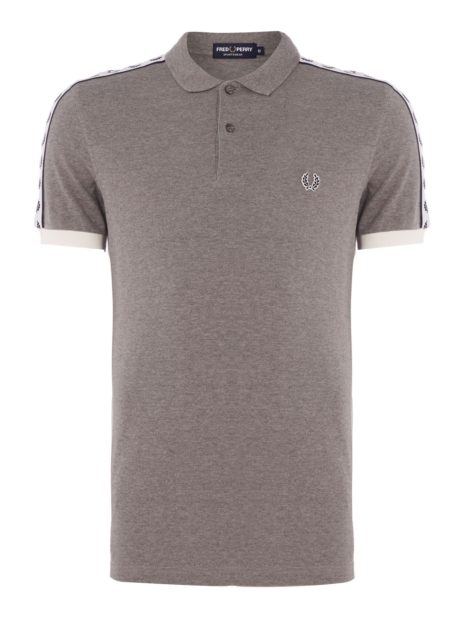 Mens Fred Perry Short Sleeve Taped Polo Grey Marl