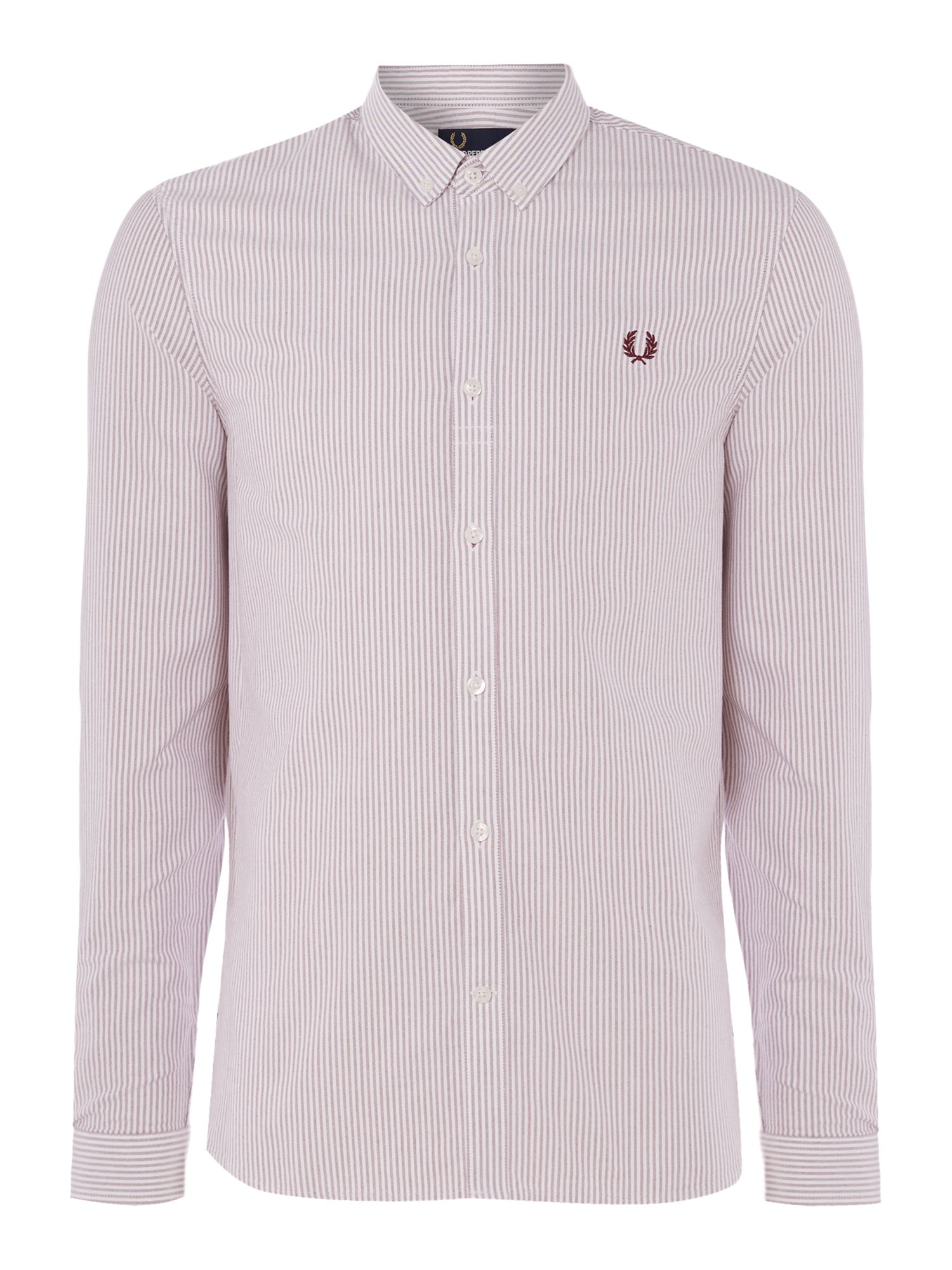 Mens Fred Perry Long sleeve pinstripe shirt Rosewood