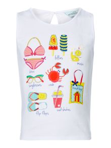 Little Dickins & Jones Girls Beach Graphic Sleeveless T-shirt