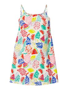 Little Dickins & Jones Girls Tropical Print Beach Dress