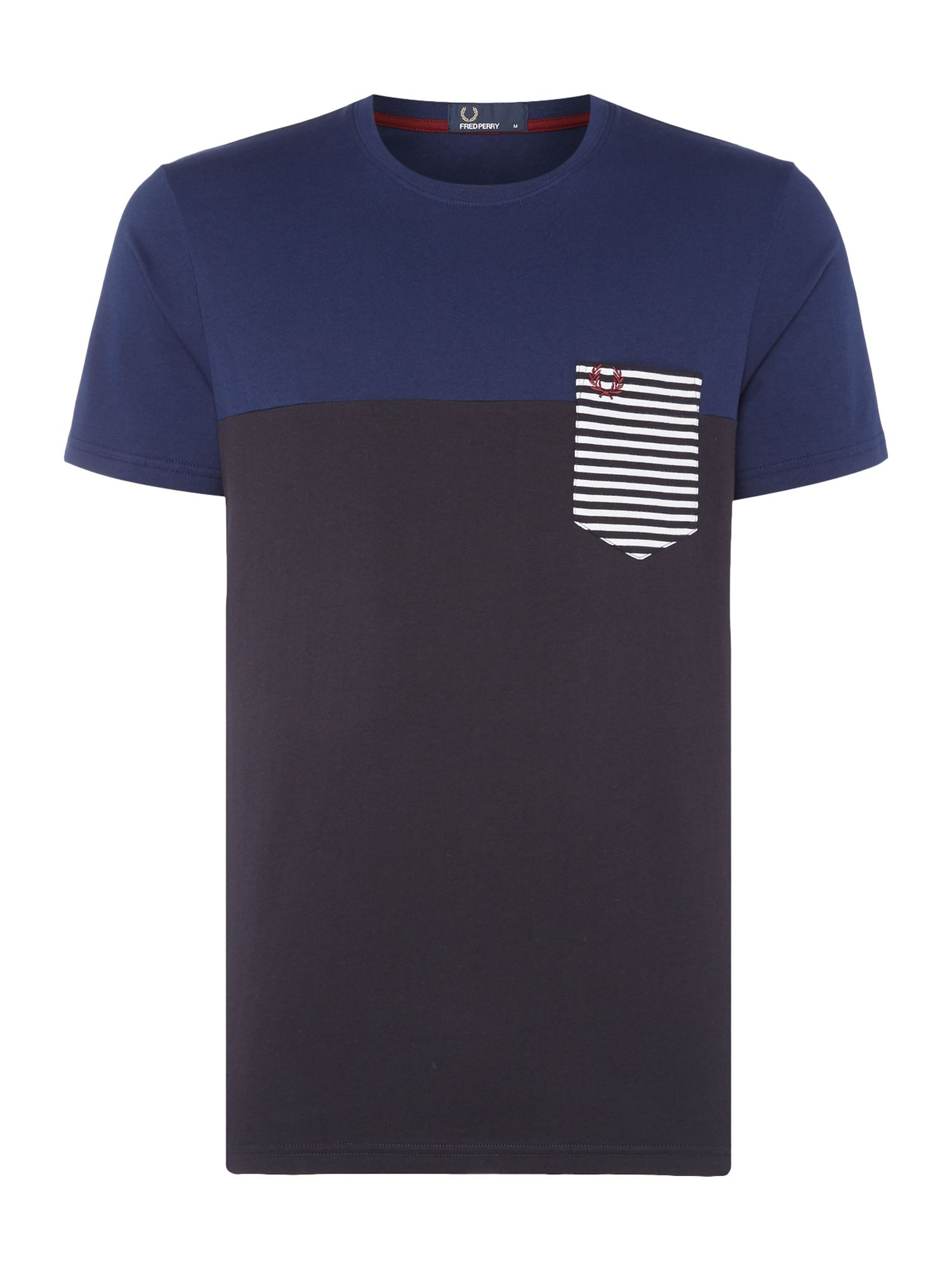 Mens Fred Perry Stripe contrast pocket short sleeve tshirt French Navy