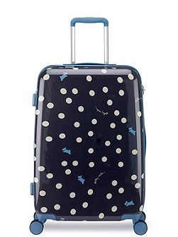 Vintage dog dot 8 wheel hard medium suitcase