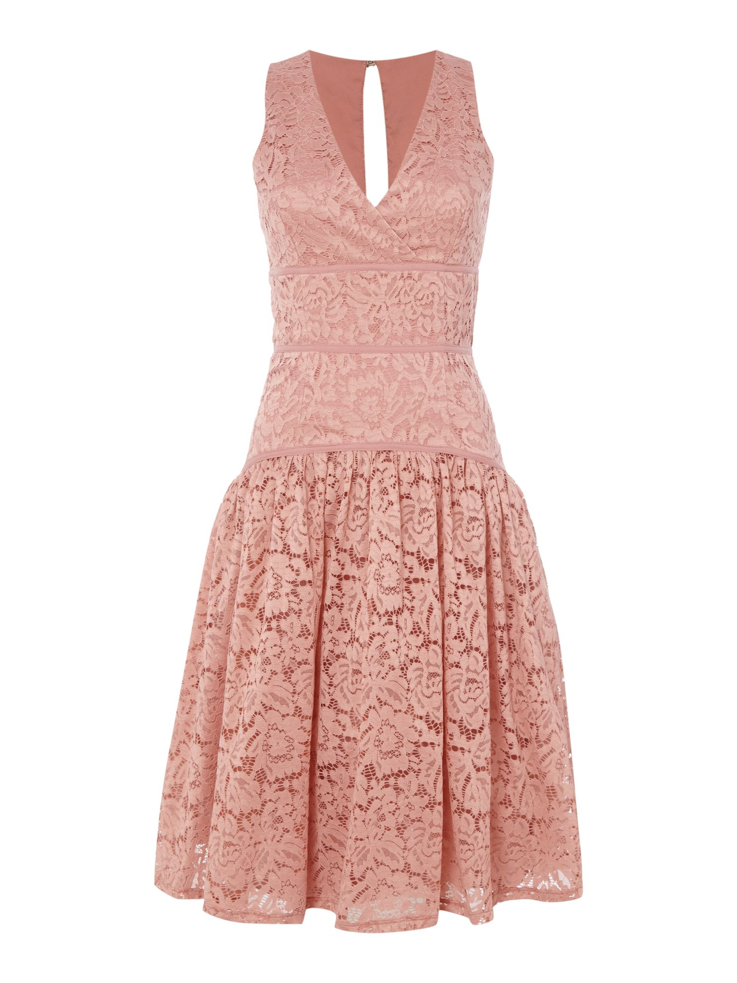 Little Mistress Sleeveless Lace Dropped Hem Dress, Apricot